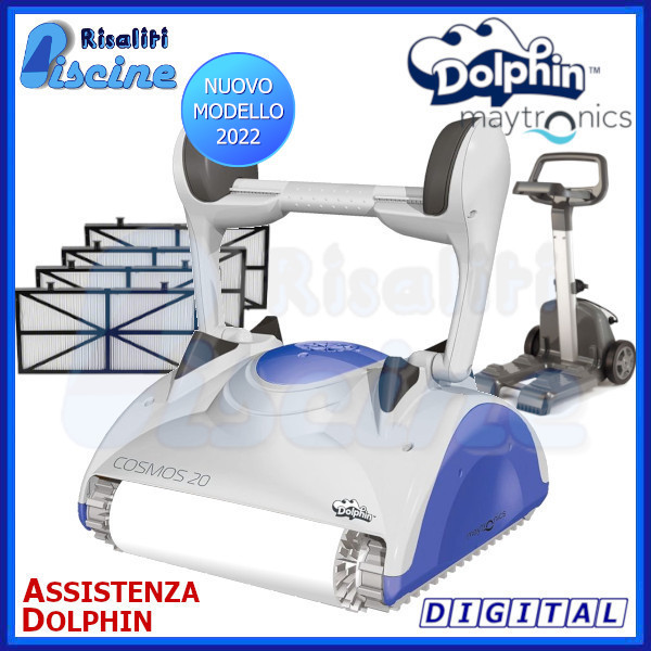 Dolphin Cosmos 20 Digital Robot Pulitore Piscina Wonder fondo pareti www.risaliti.com
