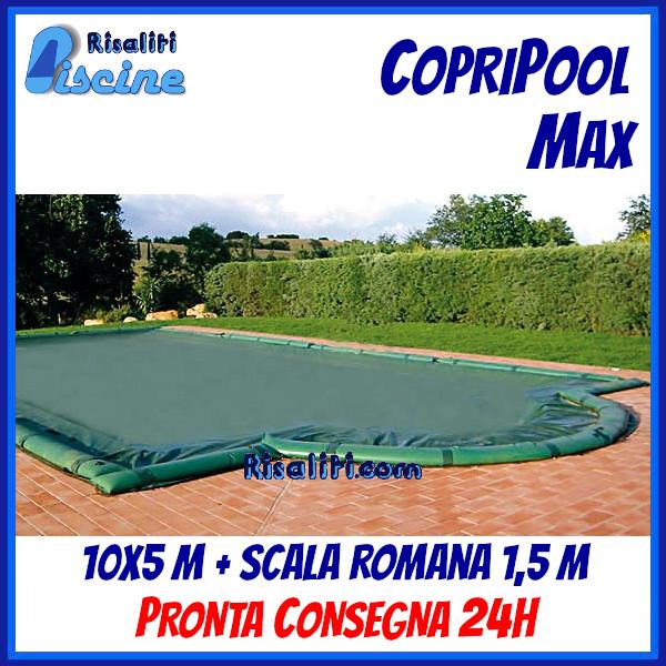 CopriPool Max CON TUBOLARI 10x5 + Scala Romana 1,5 m www.risaliti.com