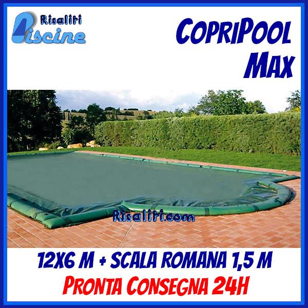 CopriPool Max CON TUBOLARI 12x6 + Scala Romana 1,5 m www.risaliti.com