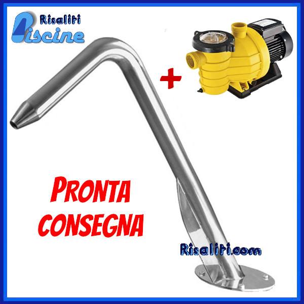Fontana Acqua Piscina Giardino Jet Cannone Tondo Cromato con Pompa www.risaliti.com